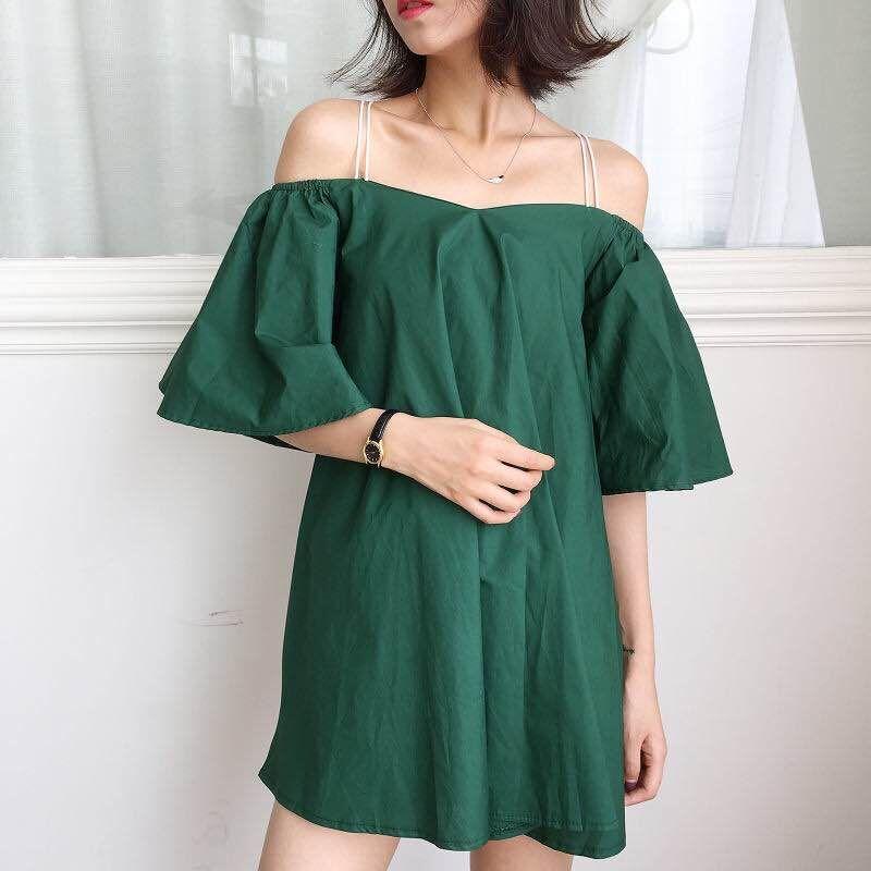 PS Mall 一字領喇叭袖大擺裙吊帶裙連身裙 洋裝【T2785】