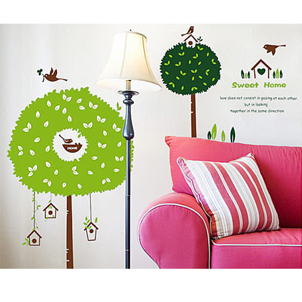 BO雜貨【YV0691】創意可重複貼壁貼 背景貼 壁貼樹 組合時尚壁貼之家 甜蜜樹屋DM69-0034 AY918