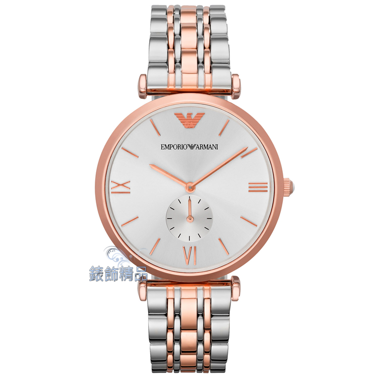 【錶飾精品】 ARMANI手錶 亞曼尼時尚簡約 薄型 白面小秒針 玫瑰金 鋼帶男錶 AR1677 情人生日禮物 原廠正品