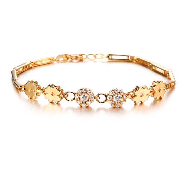 最新款日韓新品經典幸運草鑲鑽造型女款銅鍍18K金手鍊