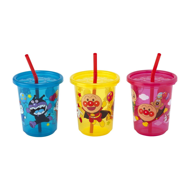**雙子俏媽咪親子館**  [日本]  麵包超人 Anpanman  吸管杯 兒童水杯 學習杯 附蓋吸管3入