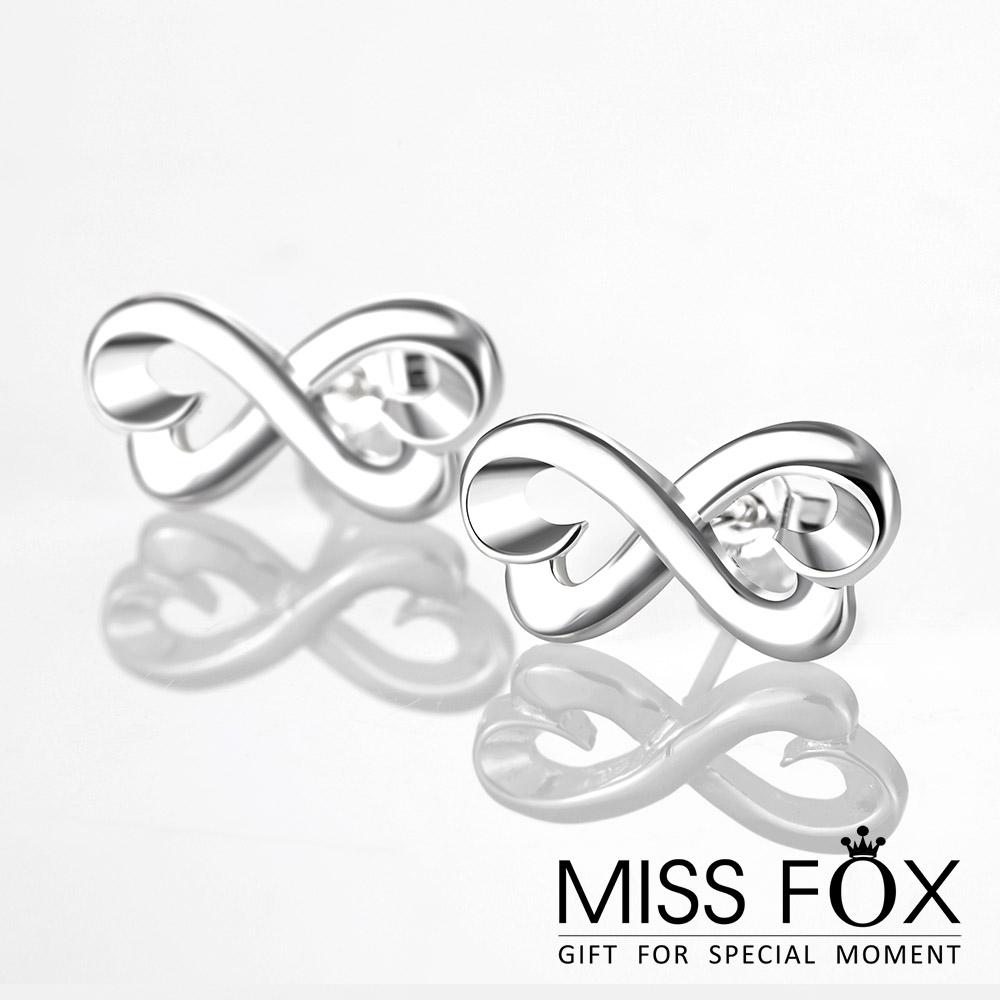 限量39折 鍍925純銀耳環 無限熱戀 雙心耳環 JJ1076