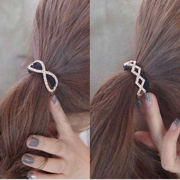 PS Mall 2016新款 韓版髮圈 蝴蝶結 交叉鑲鑽發圈髮繩【G1946】