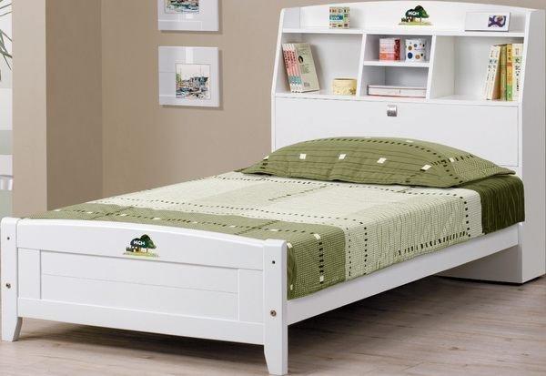 【石川家居】EF-67-1 菲莉絲白色3.5尺彩繪書架單人床架 (不含床墊及其他商品) 需搭配車趟