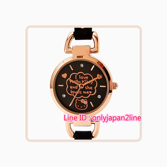 【真愛日本】16102100045優雅手錶-KT皮帶黑鑲鑽玫瑰金  三麗鷗Hello Kitty凱蒂貓   鐘錶 手錶 手飾