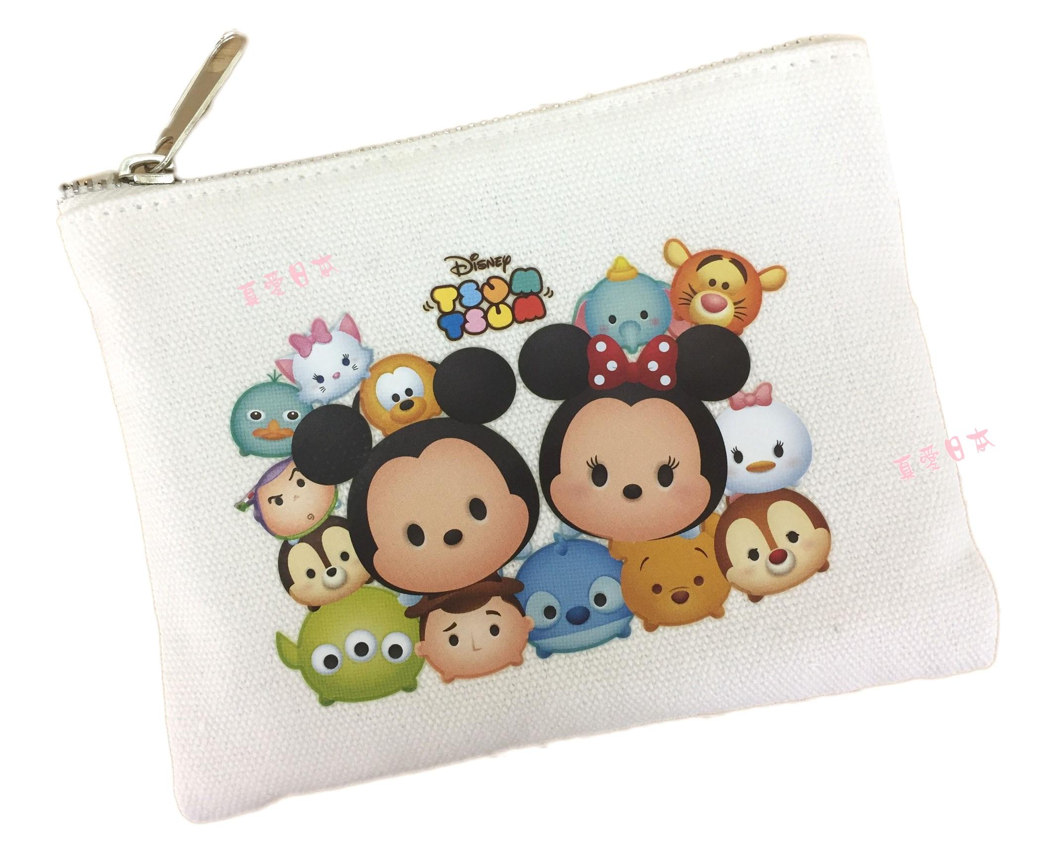 【真愛日本】16072200017茲姆茲姆帆布零錢包    迪士尼  零錢包  收納袋