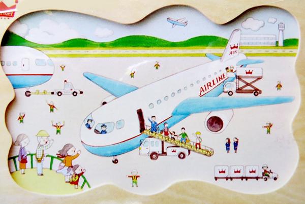 飞机起飞前的完整插画图案