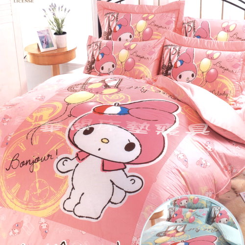 *華閣床墊寢具*《美樂蒂.法國小舖-粉》單人床包組【床包+枕套*1】不含被套 大版圖  台灣製