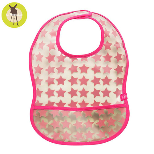 德國Lassig寶寶防水袋型圍兜1入-粉紅星星 LTEXBEVA068