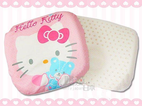 【真愛日本】12112800023 KT方形乳膠枕 三麗鷗 Hello Kitty 凱蒂貓 嬰兒用品 枕頭 正品