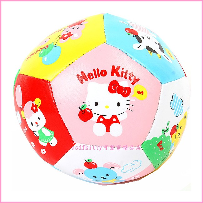 asdfkitty可愛家☆KITTY 朋友版安全軟皮球/L號/軟足球-日本正版商品
