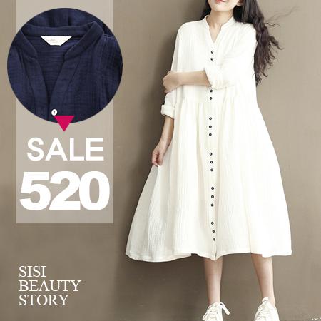 SISI【D6050】復古森林系質感立領寬鬆開襟單排扣長袖連身長裙洋裝