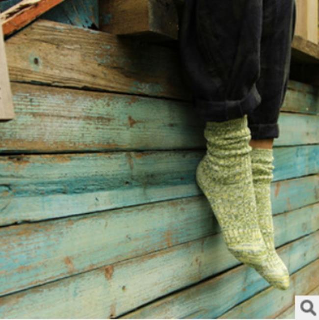 50%OFF【W07560SK】日系粗針堆堆襪 全棉點子紗中筒女襪 復古粗線襪子