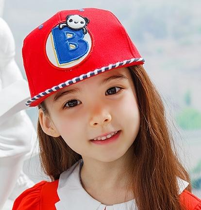 Lemonkid◆可愛小熊字母條紋時尚配色運動休閒兒童鴨舌棒球帽-紅色
