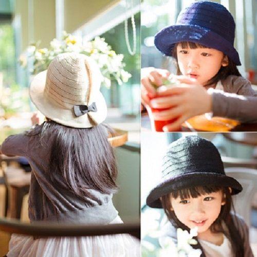 PS Mall 韓版夏季可愛百搭蝴蝶結兒童帽子太陽帽漁夫草帽遮陽帽【G2030】