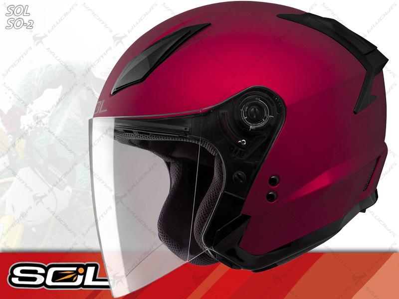 SOL安全帽 SO-2 / SO2 消光紅【簡約輕化.可加下巴】 半罩帽 『耀瑪騎士生活機車部品』