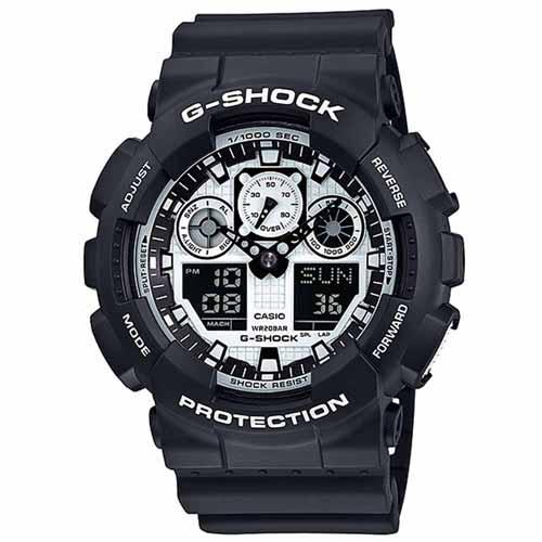 CASIO G-SHOCK GA-100BW-1A黑白雙顯流行腕錶/白面51mm