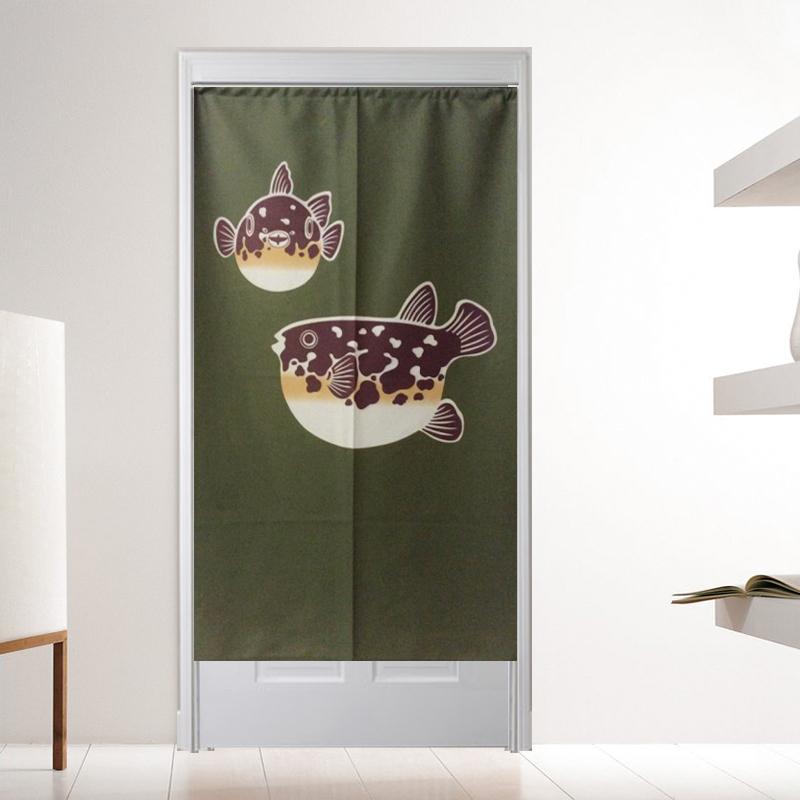 +台灣製造日式和布門簾【河豚】90 x150cm 居家設計款+