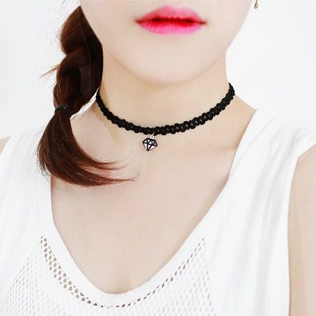 PS Mall 韓版短款甜美頸帶鑽石閃電嘴唇項圈短款頸鍊項鍊【G2193】
