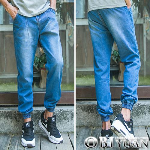 jogger慢跑褲【FMM537】OBI YUAN韓版水洗刷色仿舊設計丹寧束口牛仔褲