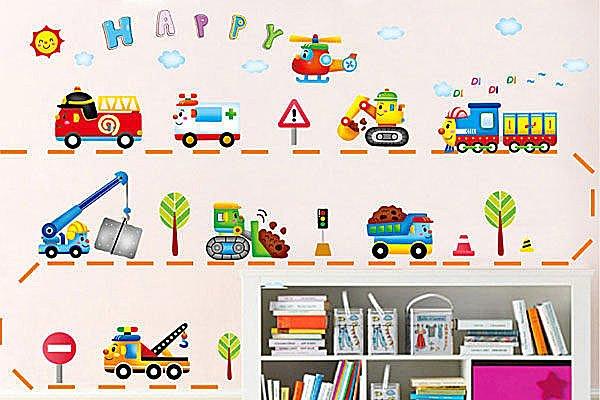 BO雜貨【YV2304】可移動壁貼 牆貼/身高尺壁貼/兒童壁貼 兒童房設計 小車車 卡通車隊