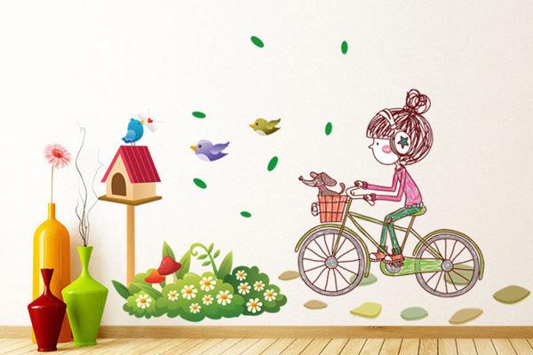 BO雜貨【YV2790】可重複貼 時尚組合壁貼 牆貼 壁貼紙 創意璧貼 小鳥 信箱 單車女孩