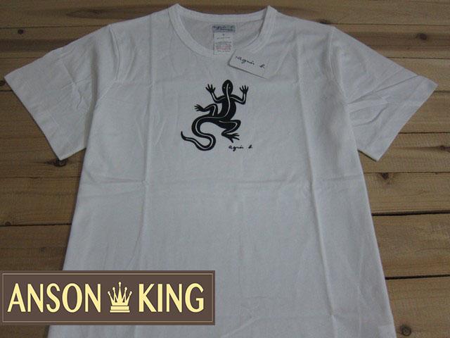 [Anson king]outlet國外代購 agnes b.蜥蜴圖騰 短袖 圓領 男款 T恤 白