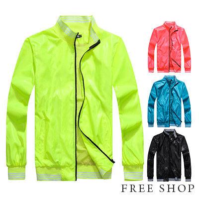 Free Shop【QMD50005】韓國超人氣潮流螢光色街頭彈性螺紋立領運動外套風衣外套‧四色