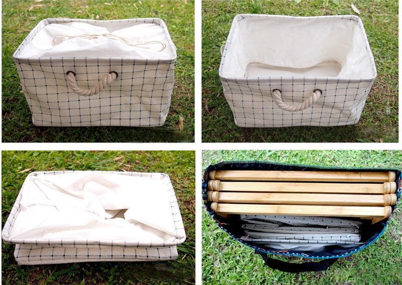 【【蘋果戶外】】ZAKKA風十字紋棉麻布 束口 收納袋, 適用竹製摺疊三層架四層架(復古ZAKKA風 汙衣袋 洗衣籃 衣物收納箱)