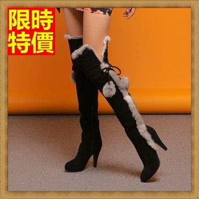 過膝長靴 女鞋子-歐美時尚性感高跟磨砂真皮兔毛女靴子71ab41【獨家進口】【米蘭精品】