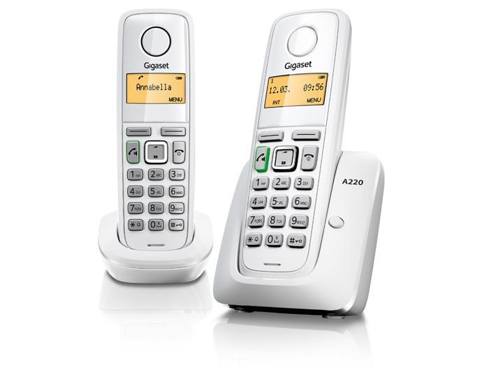 SIEMENS 西門子-Gigaset ECO DECT 數位雙子機數位無線電話 A220 Duo / 白色