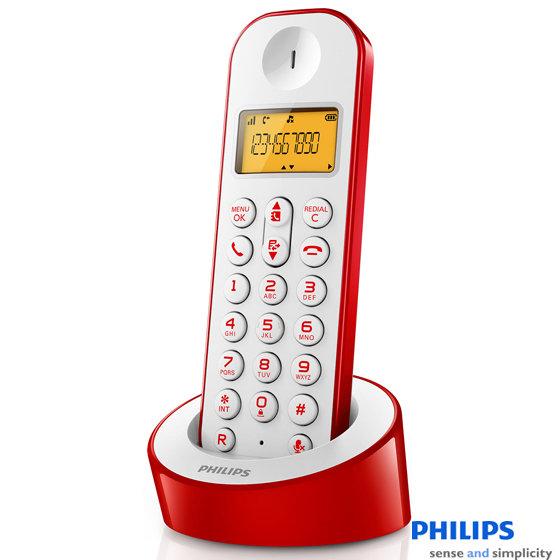 PHILIPS 飛利浦 數位無線電話 D1201 / D1201WR 紅色款