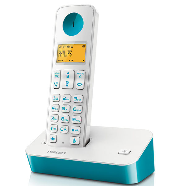 PHILIPS 飛利浦 數位無線電話 D2001 / D2001WT -藍綠色