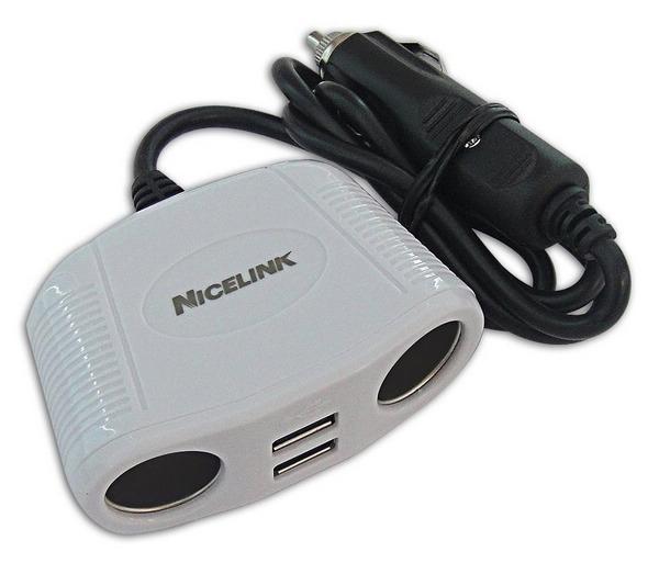 Nicelink USB車用充電器擴充座US-M220B白