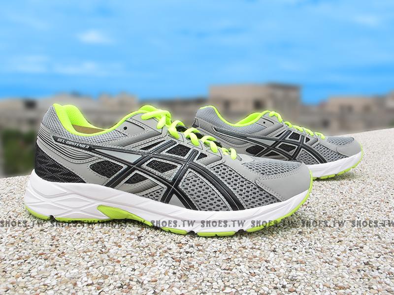 Shoestw【T5F4N-9690】ASICS 慢跑鞋 基本入門款 CONTEND3 灰黑 螢綠 男生