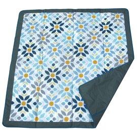 【淘氣寶寶】美國 JJ Cole Essentials Blanket 外出攜帶防水野餐墊 / 戶外遊戲墊 / 防水墊(藍花)【裡層防水,防汙漬/展開:150cm*150cm 】