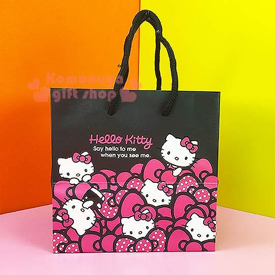 〔小禮堂〕Hello Kitty 寬底提袋《小.黑.多粉蝴蝶結》送禮包裝最方便