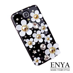 Samsung S4 白色花海星綻 清新貼鑽手機殼 Enya恩雅(捷克水晶鑽)(郵寄免運)