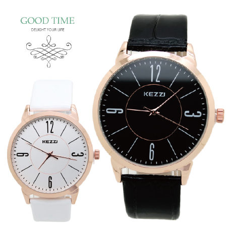 《好時光》香港品牌 KEZZI  玫瑰金框 質感面盤 簡約數字 時尚女錶 男錶 對錶-單支價格