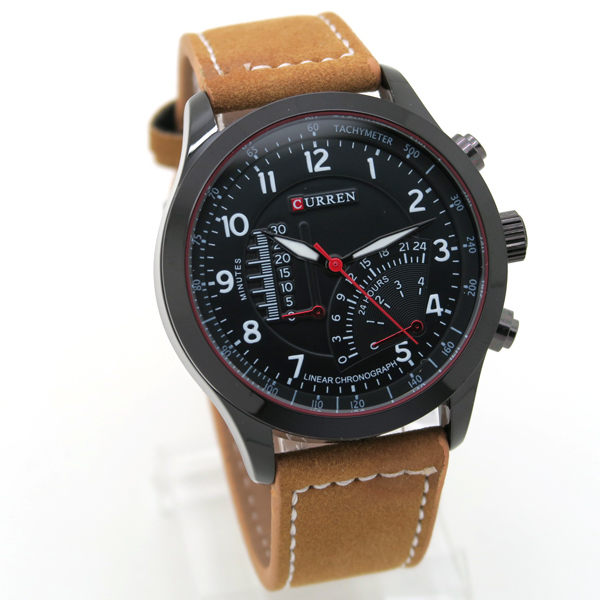 CURREN 大面徑 立體面板 賽車 儀表版 運動錶 型男 個性 男錶 皮革錶《好時光》
