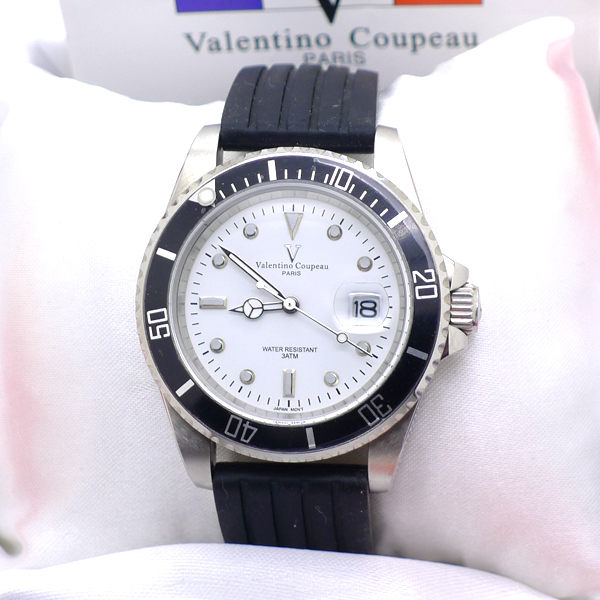《好時光》Valentino Coupeau 范倫鐵諾 經典水鬼王 可旋轉框(日期窗)時尚男錶-矽膠錶帶
