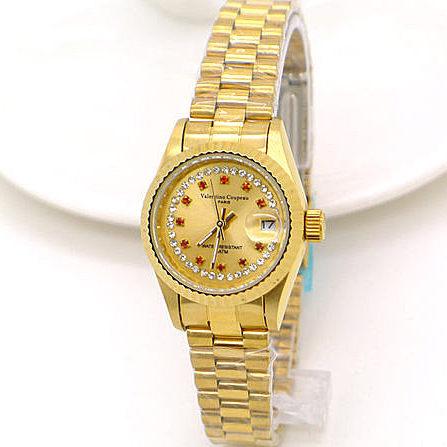 《好時光》Valentino Coupeau 范倫鐵諾 金色時光紅寶晶鑽時尚男錶/女錶-日期