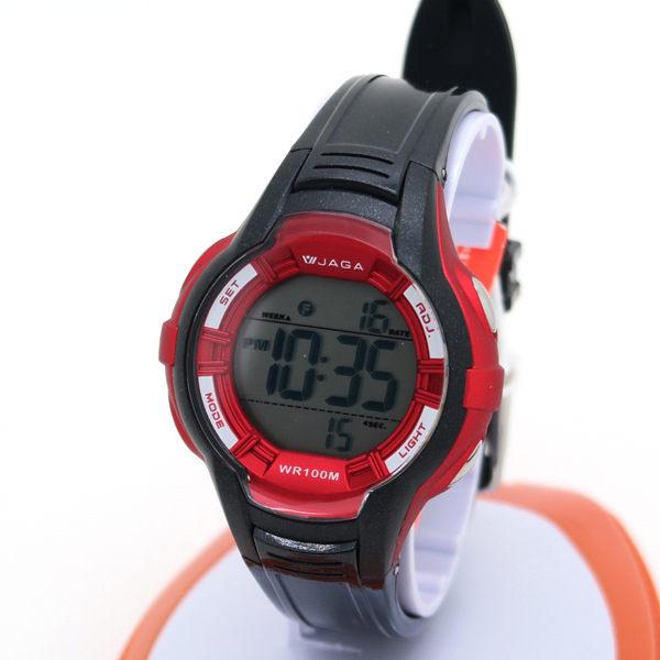 《好時光》JAGA 捷卡 M994 大數字冷光多功能電子錶/兒童錶/女錶-防水100M 可游泳-紫粉黑