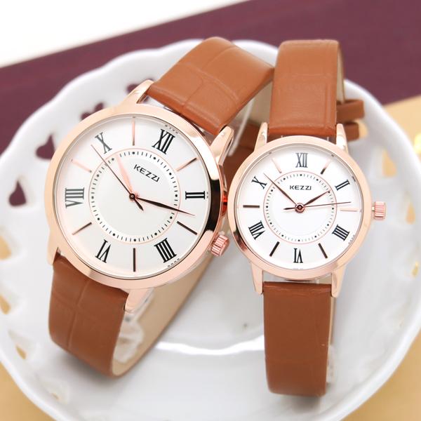 《好時光》香港品牌 KEZZI 玫瑰金框 質感面盤 簡約羅馬字 時尚女錶 男錶 對錶-單支價格