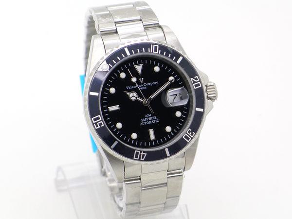 《好時光》Valentino 范倫鐵諾 水鬼 遊艇 日期 背面鏤空 可旋轉框 自動機械錶-水晶鏡面-黑