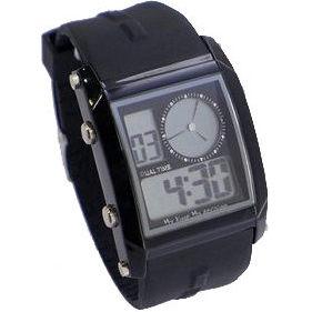 手錶 類CK錶風格O.T.S 個性風雙顯示防水冷光多功能電子錶-黑OTS《好時光》