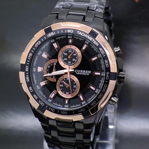 仿三眼設計 運動錶 賽車風 型男 個性霸氣 黑鋼款 男錶 CURREN《好時光》