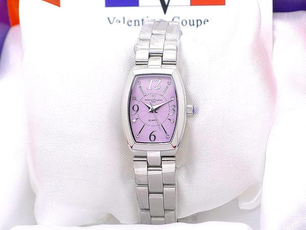《好時光》Valentino Coupeau 范倫鐵諾 馬卡龍色 典雅女孩 酒桶型 晶鑽數字 水波紋不鏽鋼時尚女錶