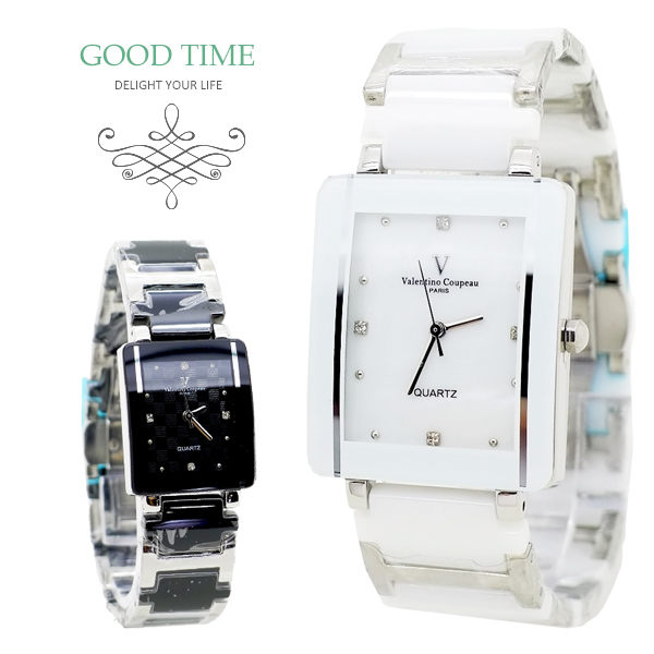 《好時光》Valentino 范倫鐵諾 長方形格紋珍珠貝晶鑽精密陶瓷男錶 女錶 對錶-似雷達款