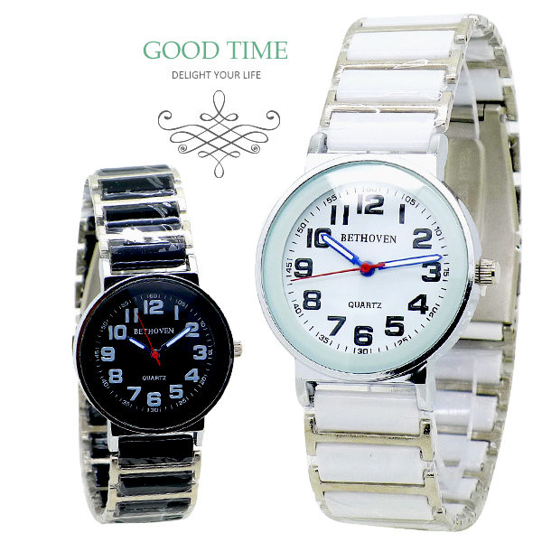 《好時光》BETHOVEN 圓形清晰數字 多角切割鏡面-陶瓷時尚男錶/女錶/對錶 (防水) 黑/白-單支價格